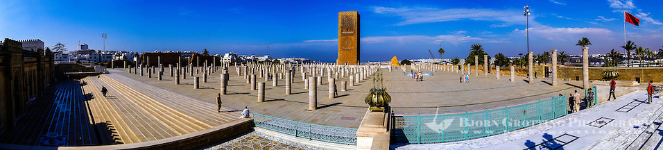 Panorama. Hassan Tower or Tour Hassan is the minaret of an incomplete mosque in Rabat, Morocco. (Bjorn Grotting)