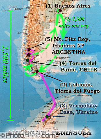 A map of southern South America (Patagonia) summarizes trip from Buenos Aires to Ushuaia, Antarctica, Torres del Paine National Park (Chile), and Mount Fitz Roy (Argentina).