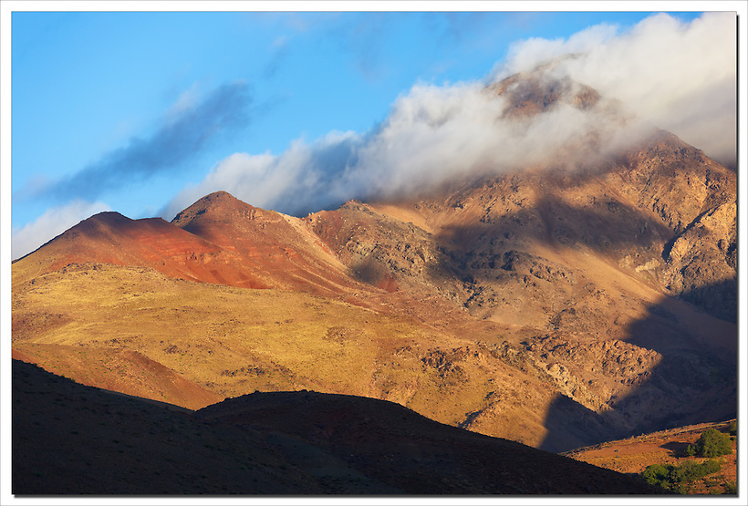 High Atlas Mountains with morning fog, Morocco. (Rosa Frei)