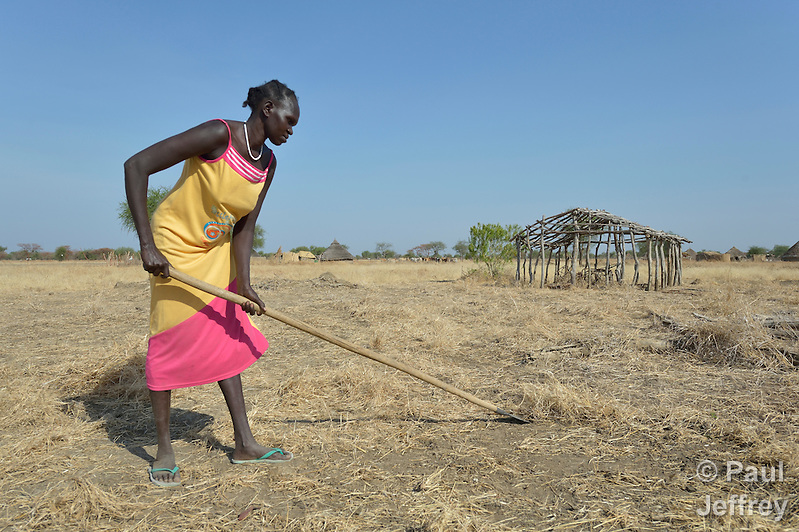 Afaf Ngor clears a field for planting near the remains of her former home in Mading Achueng, a village in Abyei, a contested region along the border between Sudan and South Sudan. Under a 2005 peace agreement, the region was supposed to have a referendum to decide which country it would join, but the two countries have yet to agree on who can vote. In 2011, militias aligned with Khartoum drove out most of the Dinka Ngok residents, including Ngor, pushing them across a river into the town of Agok. Yet more than 40,000 Dinka Ngok have since returned with support from Caritas South Sudan, which has drilled wells, built houses, opened clinics and provided seeds and tools for the returnees. (Paul Jeffrey)