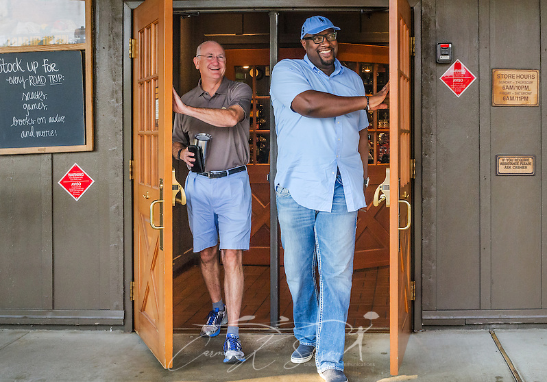 Oak Mountain Presbyterian Church Pastor Bob Flayhart and Urban Hope Community Church Pastor Alton Hardy smile as they exit Cracker Barrel restaurant after having breakfast together, July 17, 2015, in Birmingham, Ala. Hardy and Flayhart began having weekly breakfasts together more than two years ago — a move they say has been instrumental in forming the trusting relationship needed as their congregations work together to heal race relations in Birmingham. (Photo by Carmen K. Sisson/Cloudybright) (Carmen K. Sisson/Cloudybright)