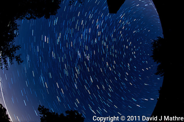 North View Star Trails. Summer Night in New Jersey. Image taken with a Nikon D3s and 16 mm f/2.8 mm Fisheye lens (ISO 400, 16 mm, f/4, 59 sec). Composite of 15 images combined using the Startrails program. (David J Mathre)