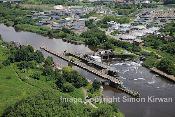 Barton Locks, Manchester Ship Canal from the Air - aerial view by Simon Kirwan