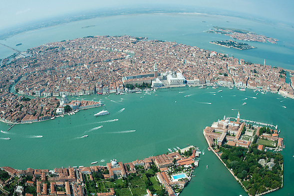 VENICE, ITALY - JULY 07:    A general view of the Venice with Giudecca, San Giorgio Island and the Lagoon seen during the Seawing  tour above Venice on July 7, 2011 in Venice, Italy. Seawings has started a new tour of Venice by seaplane, offering aerial views of the Venetian Lagoon and its historic islands, continuing a long history of seaplanes in Venice.  (Marco Secchi)