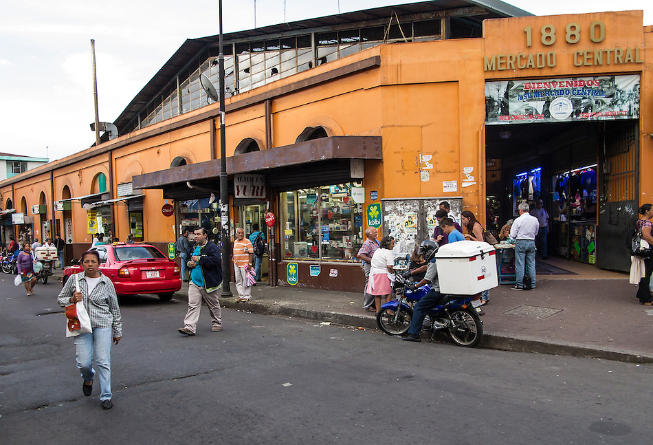 SAN JOSE, COSTA RICA - CIRCA AUGUST 2012: Exterior of Central Market circa 2012 in San Jose, a very popular attraction and the biggest market in the city  with more than 10.000 daily visitors. (Mindi)