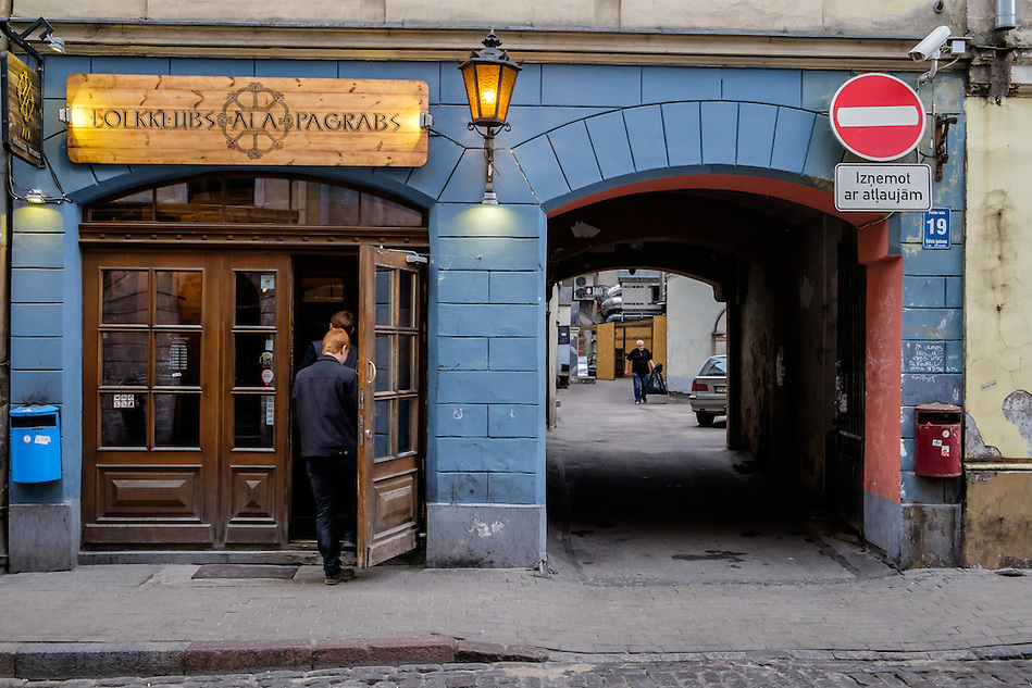 RIGA, LATVIA - CIRCA MAY 2014: Bar in Old town Riga. (Daniel Korzeniewski)
