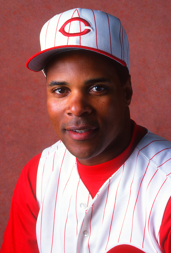 PLANT CITY, FLORIDA:  Barry Larkin of the Cincinnati Reds poses for a headshot during spring training in Plant City, Florida.  Larkin played for the Reds from 1986-2004.   (Photo by Ron Vesely)   Subject: Barry Larkin. (Ron Vesely)