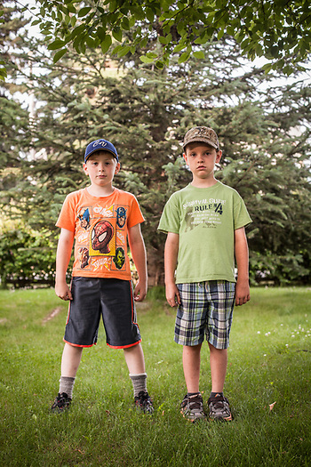 Eight year old friends, Landon and Landon, South Addition, Anchorage (Clark James Mishler)