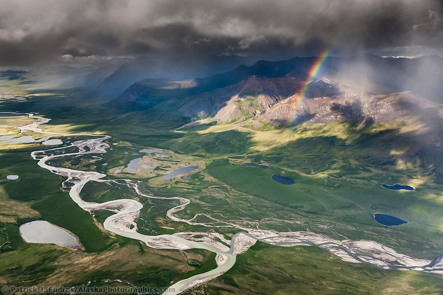 Alaska river photos: Aerial of the Brooks Range mountains, Arctic Alaska. confluence of easter creek and killik river, gates of the Arctic national park. (Patrick J Endres / AlaskaPhotoGraphics.com)