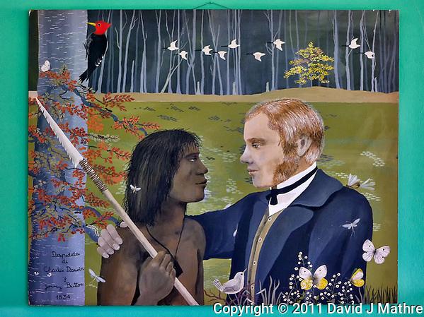"""Painting at Hosteria Los Notros """"Despedida de Charles Darwin y Jemmy Button 1834"""". Hosteria Los Notros (David J Mathre)"""