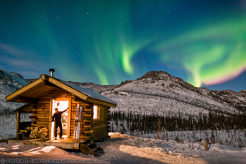Aurora borealis over the Caribou Bluff recreation cabin in the White Mountains National Recreation Area, Interior, Alaska. (Patrick J. Endres / AlaskaPhotoGraphics.com)
