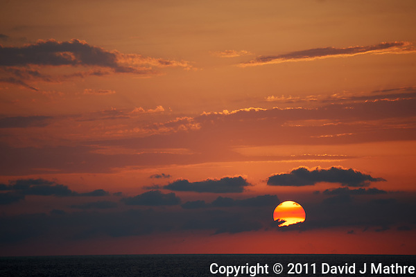 Sunset over the Caribbean on the Semester at Sea M/V Explorer. Image taken with a Nikon D3x and 70-300 mm VR lens (ISO 320, 300 mm, f/5.6, 1/250 sec) (David J Mathre)