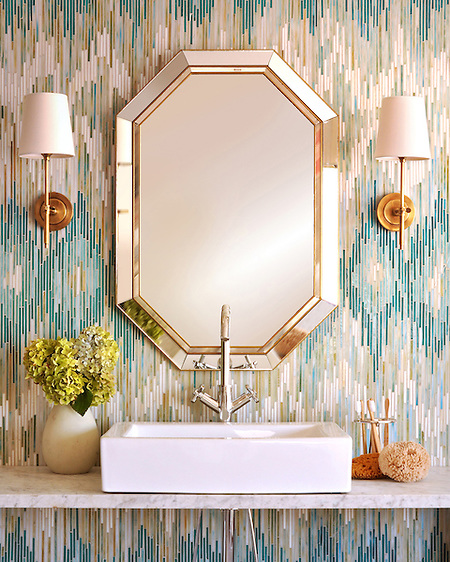 Loom, a jewel glass mosaic shown in Quartz, Aquamarine, Tanzanite and Turquoise, is part of the Ikat Collection by Sara Baldwin for New Ravenna Mosaics.