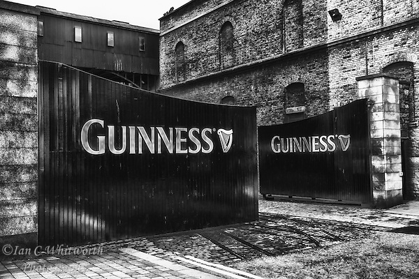 A black and white view of the Guinness Brewery gates in Dublin Ireland. (Ian C Whitworth)