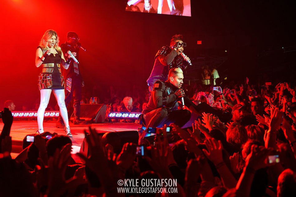 "COLUMBIA, MD - June 9th, 2011: Fergie, Will.I.Am, apl.de.ap and Taboo of the Grammy Award-wining hip-hop group The Black Eyed Peas perform at Merriweather Post Pavilion in Columbia, MD. The group recently released the single ""Don't Stop The Party"" from their sixth studio album, The Beginning. (Photo by Kyle Gustafson/For The Washington Post) (Kyle Gustafson/FTWP)"
