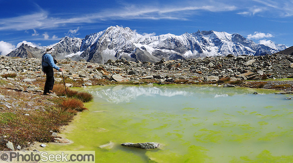 "Bright yellow algae grows in a tarn (mountain pond) which reflects peaks of Dents des Veisivi (left) and Aiguilles de la Tsa (right) above Arolla Valley, part of Val d'Hérens, in Valais (Wallis) Canton, Switzerland, Europe. Hike the High Route (Chamonix-Zermatt Haute Route) for classic mountain scenery. Panorama stitched from 2 images. Published in Ryder-Walker Alpine Adventures ""Inn to Inn Alpine Hiking Adventures"" Catalog 2006-2009, 2011. (© Tom Dempsey / PhotoSeek.com)"