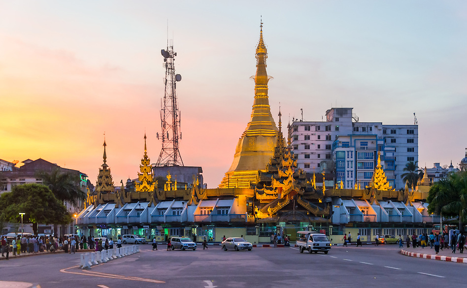 YANGON, MYANMAR - CIRCA DECEMBER 2013: View of the Maha Bandula Road and the Sule Pagoda in Yangon. (Daniel Korzeniewski)