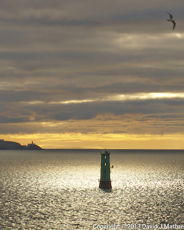 Morning View of the North Bull Lighthouse at the Entrance to Dublin Harbor With the Bailey Lighthouse at Howth iin the Distance. Image taken with a Leica V-Lux 6 camera (ISO 100, 17.7 mm, f/2.8, 1/1600 sec). (David J Mathre)