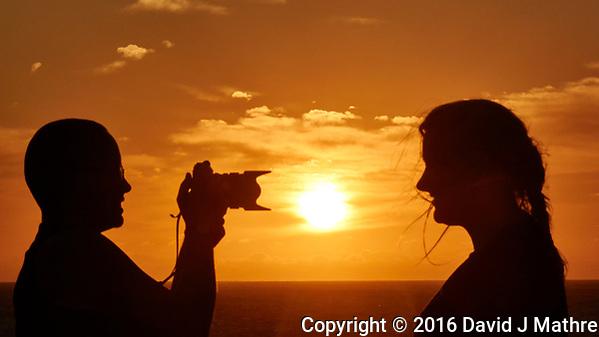 Sunrise Breakfast Club. Silhouette Photographer at Sunrise. Image taken with a Nikon 1 V3 camera and 70-300 mm VR lens (David J Mathre)