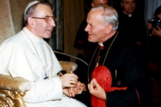 Albino Luciani, Papa Juan Pablo I, con el entonces cardenal Karol Wojtila, que luego sería el Papa Juan Pablo II