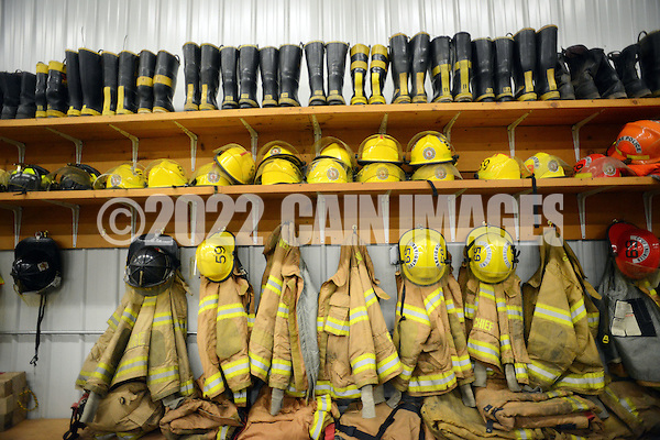 SILVERDALE, PA - APRIL 15:  Some of the firefighters gear rests on shelves at Silverdale Fire Company April 15, 2014 in Silverdale, Pennsylvania. Silverdale Fire Company will be celebrating it's 100th anniversary this year. (Photo by William Thomas Cain/Cain Images) (William Thomas Cain)