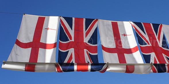 Line of BRitish & English Flags