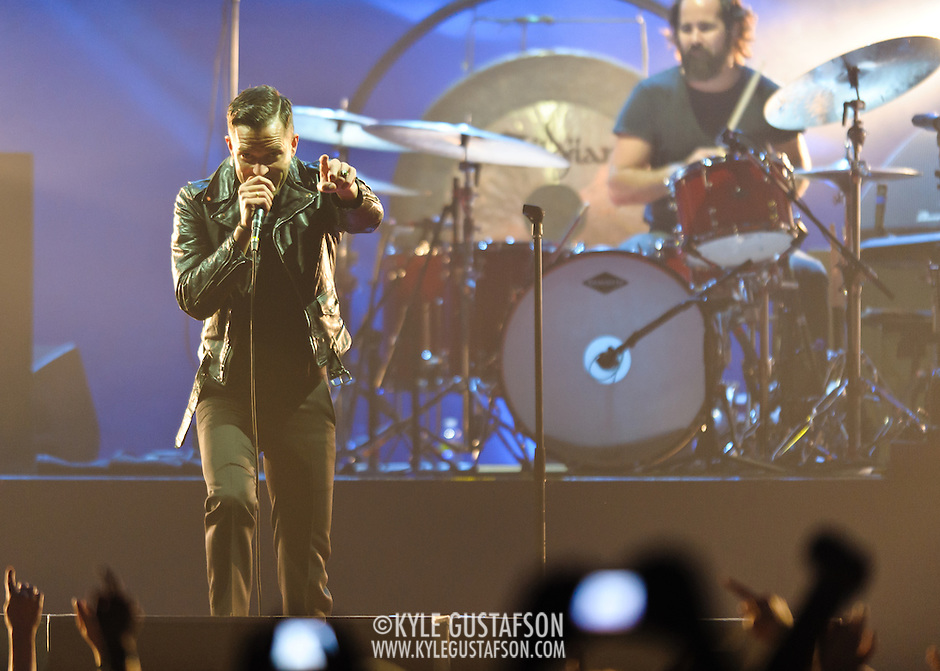 FAIRFAX, VA - December 18th, 2012 - Brandon Flowers and Ronnie Vannucci Jr. of The Killers perform at the Patriot Center in Fairfax, VA. The band is touring behind their latest album, Battle Born, which debuted at number 3 in the US on the Billboard 200.  (Photo by Kyle Gustafson/For The Washington Post) (Kyle Gustafson/For The Washington Post)