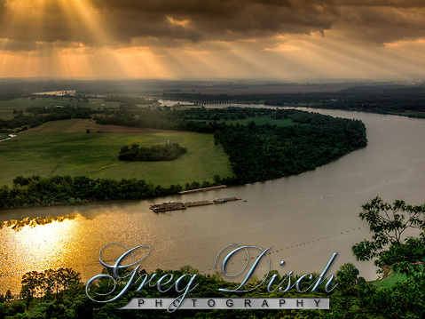 Sunrise over the Arkansas River as seen from the Petit Jean Gravesite Overlook at Petit Jean State Park near Morilton Arkansas. (Greg Disch)