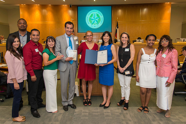 Volunteers in Public Schools VIPS honorees are recognized by Trustee Anne Sung during a Board of Trustees meeting, April 13, 2017. (Dave Einsel/Houston ISD)