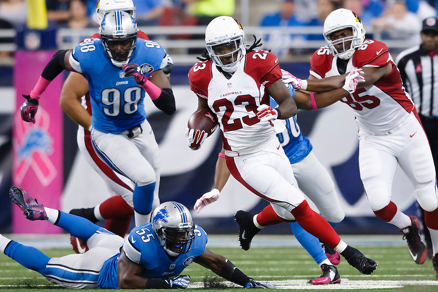 Arizona Cardinals running back Chris Johnson (23) rushes against the Detroit Lions during an NFL football game at Ford Field in Detroit, Sunday, Oct. 11, 2015. (AP Photo/Rick Osentoski) (Rick Osentoski/AP)