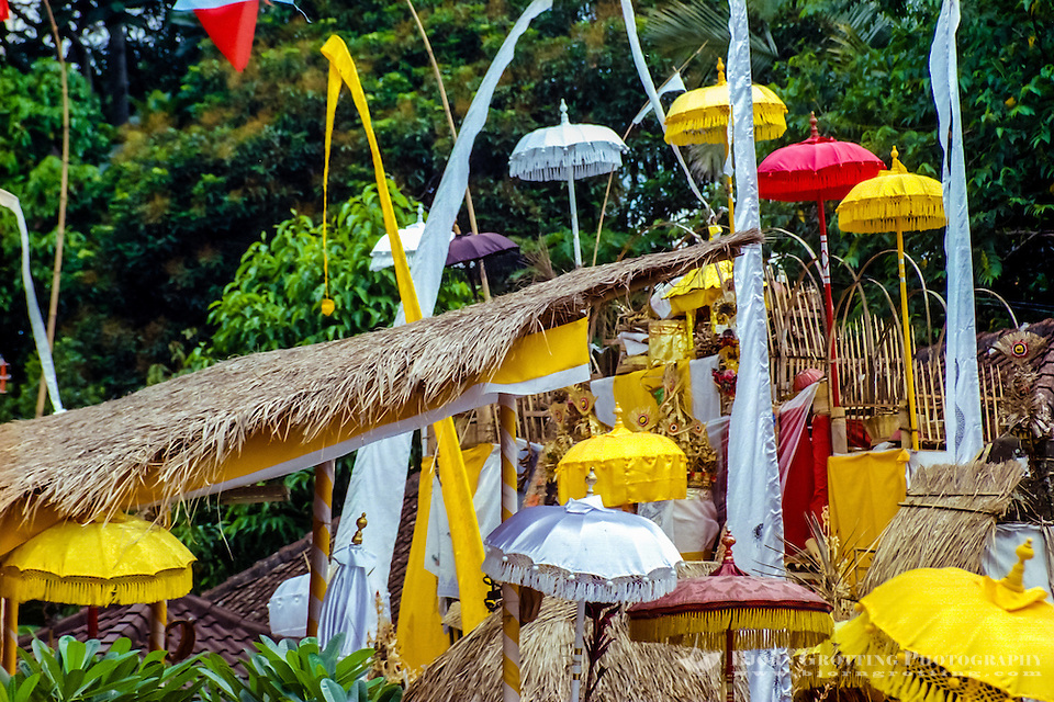 Bali, Badung, Perean. A small village south of Bedugul. Very colourful temple decorations. (Photo Bjorn Grotting)