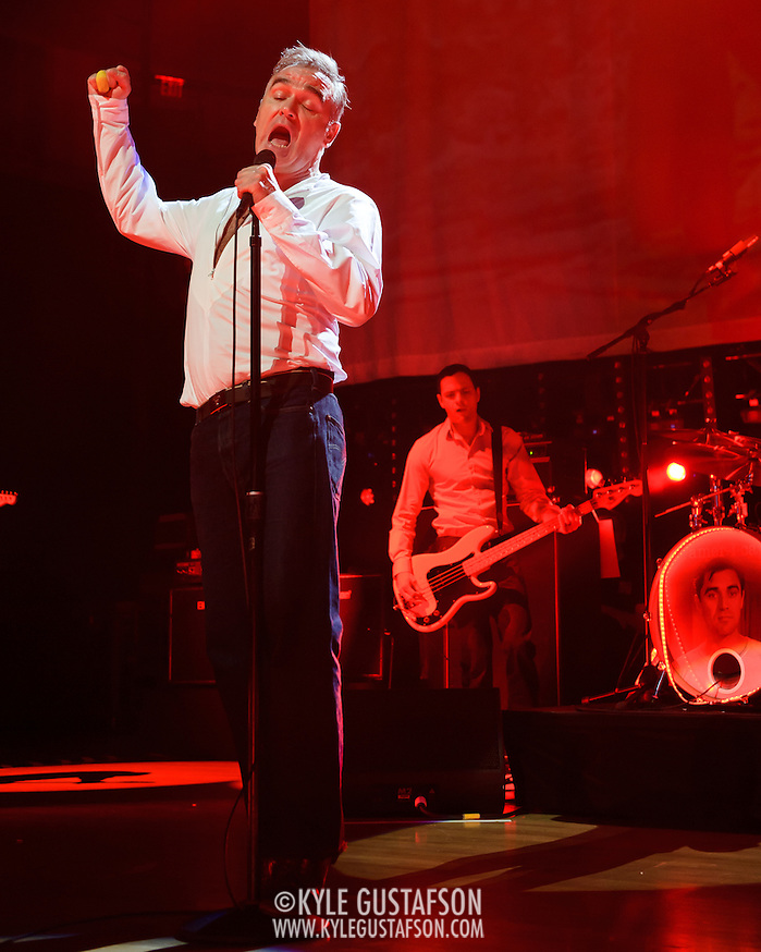 "BETHESDA, MD, DC - January 16th, 2013 - British music legend Morrissey performs at the Strathmore Music Hall with Solomon Walker. His set included solo hits like ""Everyday Is Sunday"" as well as material from The Smiths, such as ""Still Ill.""( Photo by Kyle Gustafson/For The Washington Post) (Kyle Gustafson/For The Washington Post)"