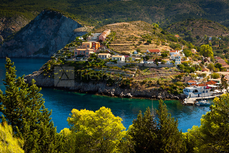 The village of assos Kefalonia photographed from path leading to fortress