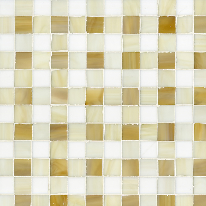 Bonnie Jewel glass mosaic field shown in Tiger's Eye, Quartz and Absolute White. (New Ravenna Mosaics 2012)