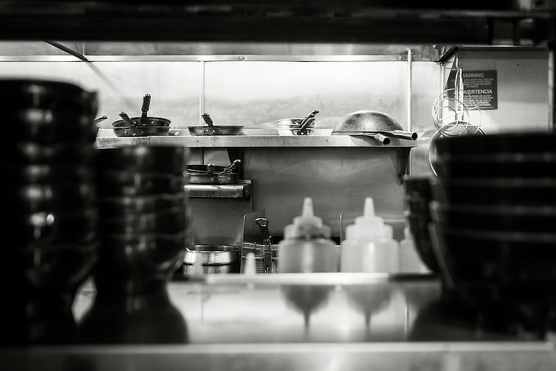 Sneaking a peek into the kitchen at Daikokuya ramen restaurant in Sawtelle Japatown, Los Angeles. (REBECCA JOYCE)