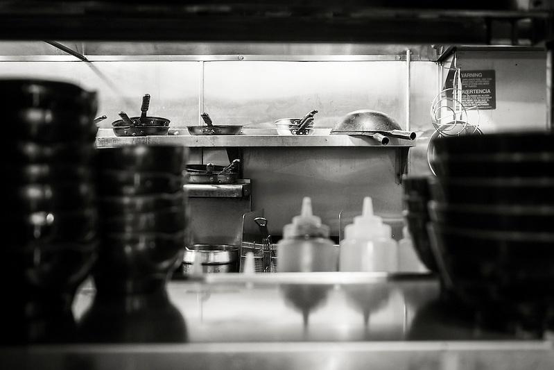 Sneaking a peek into the kitchen at Daikokuya ramen restaurant in Sawtelle Japatown, Los Angeles. (REBECCA JOYCE)