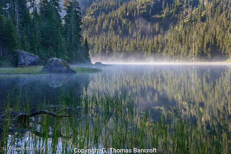 The mist rose from Lake Dorothy in the early morning. (G. Thomas Bancroft)