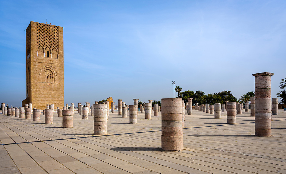 RABAT, MOROCCO - CIRCA APRIL 2017: Exterior of the Mausoleum of Mohammed V in Rabat. (Daniel Korzeniewski)