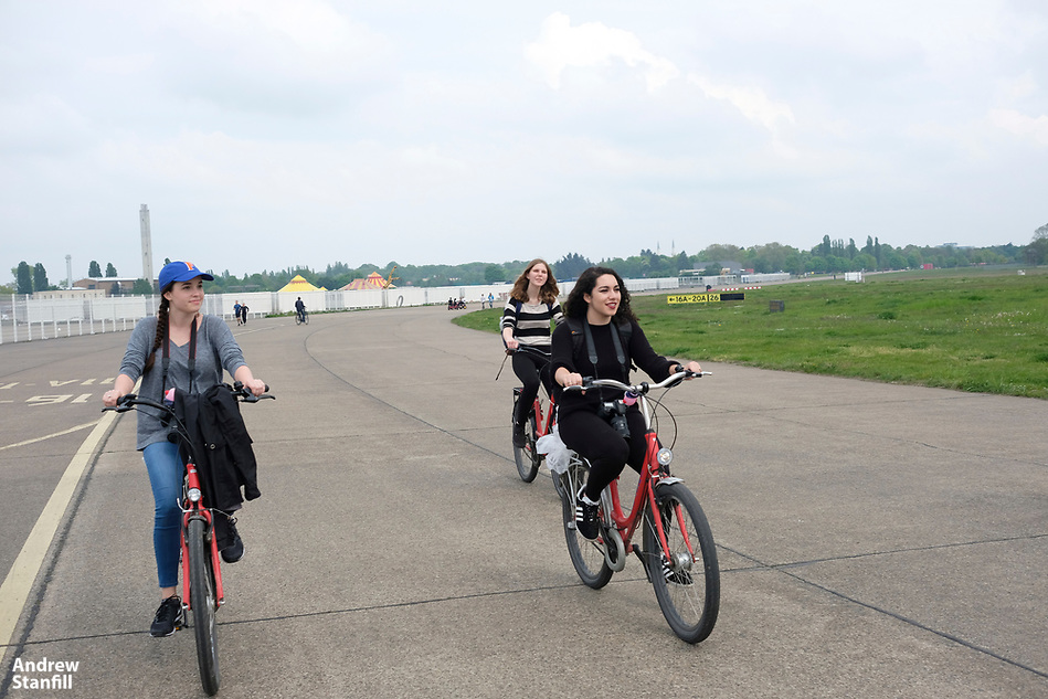 Fat Tire Bike Tour with stops at Raw and Tempelhof Airport with students on the University of Florida photojournalism trip in Berlin, Germany, May 13, 2017. (Photo by Andrew Stanfill) (ANDREW STANFILL)