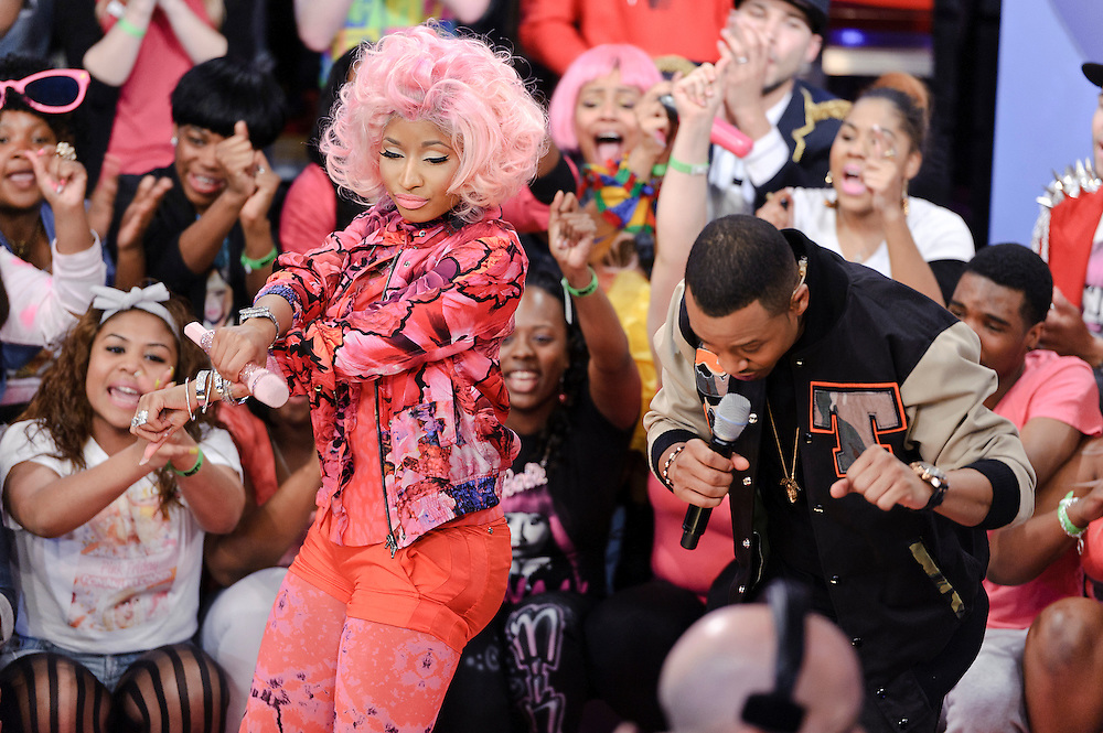 Photos of rapper Nicki Minaj performing on BET's '106 & Park' at the BET Studios, NYC. April 2, 2012. Copyright © 2012 Matthew Eisman. All Rights Reserved. (Photo by Matthew Eisman/FilmMagic)