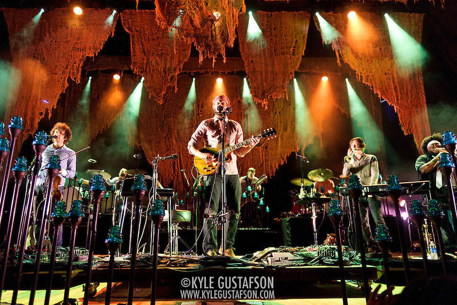 COLUMBIA, MD - September 15th, 2012 - Rob Moose, Justin Vernon,  C.J. Camerieri and Reginald Pace of Bon Iver perform at Merriweather Post Pavilion in Columbia, MD. The group graduated from large clubs to amphitheatres on the success of their second, self-titled album. (Photo by Kyle Gustafson/For The Washington Post) (Kyle Gustafson/For The Washington Post)
