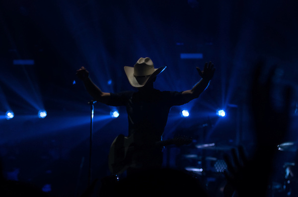 Justin Moore performing on the Platinum tour with Miranda Lambert at Peoria Civic Center, Peoria, Illinois, February 21, 2015. Photo: George Strohl (Strohl Photography/Photo: George Strohl)