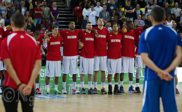 20 AUG 2014 - LONDON, GBR - The Great Britain men's team listen as the national anthems are played ahead f their men's 2015 EuroBasket 3rd Qualifying Round game against Iceland at the Copper Box Arena in the Queen Elizabeth Olympic Park in Stratford, London, Great Britain (PHOTO COPYRIGHT © 2014 NIGEL FARROW, ALL RIGHTS RESERVED) (NIGEL FARROW/COPYRIGHT © 2014 NIGEL FARROW : www.nigelfarrow.com)