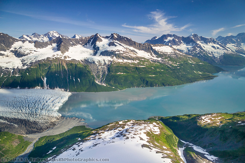 Alaska glacier photos: Aerial of Harriman glacier, Harriman Fjord, Prince William Sound, Alaska (Patrick J. Endres / AlaskaPhotoGraphics.com)