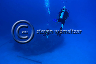 Scuba Diver over wreck of the Oro Verde, West Side, Grand Cayman (Steven Smeltzer)