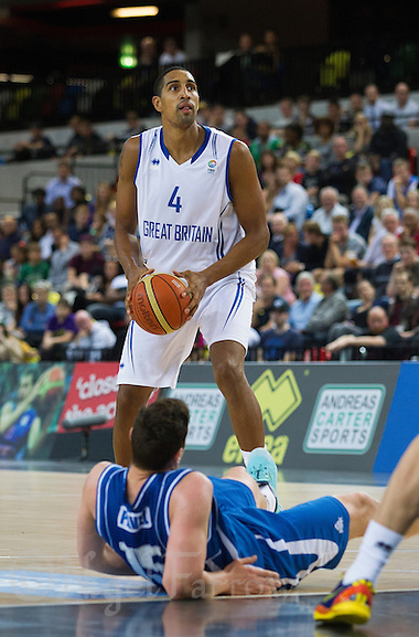 20 AUG 2014 - LONDON, GBR - Kieron Achara (GBR) from Great Britain prepares to shoot during the men's 2015 EuroBasket 3rd Qualifying Round game against Iceland at the Copper Box Arena in the Queen Elizabeth Olympic Park in Stratford, London, Great Britain (PHOTO COPYRIGHT © 2014 NIGEL FARROW, ALL RIGHTS RESERVED) (NIGEL FARROW/COPYRIGHT © 2014 NIGEL FARROW : www.nigelfarrow.com)