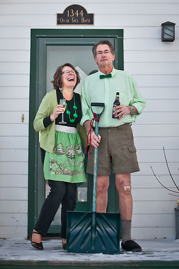 Mark and Susan Lutz on the porch of the Oscar Gill House, Anchorage. (Clark James Mishler)