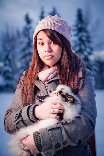 Bartlett High School student, Kiana Mitchell, with her dog, Bear, Valley of the Moon Park, Anchorage (Clark James Mishler)