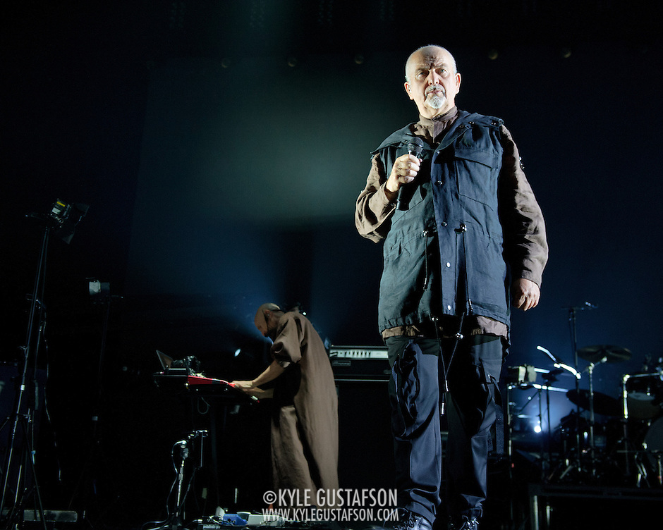 FAIRFAX, VA - October 14th, 2012 - Tony Levin and Peter Gabriel perform at the Patriot Center in Fairfax, VA as part of Gabriel's Back To Front Tour, celebrating the 25th anniversary of his landmark album, So. (Photo by Kyle Gustafson/For The Washington Post) (Kyle Gustafson/For The Washington Post)