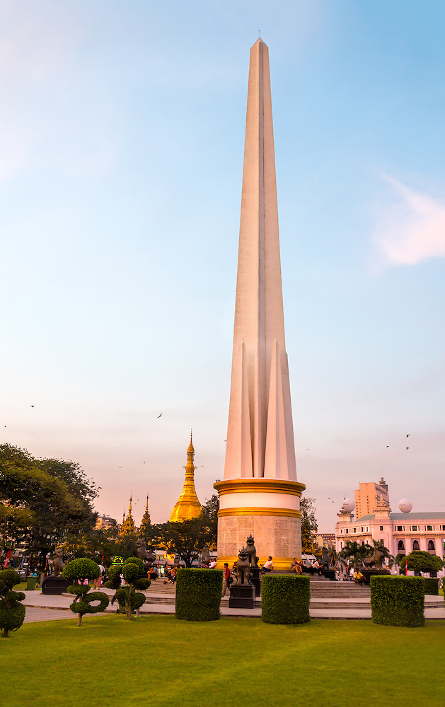 YANGON, MYANMAR - CIRCA DECEMBER 2013: View The Independence Monument in the Maha Bandoola Garden in Yangon. (Daniel Korzeniewski)